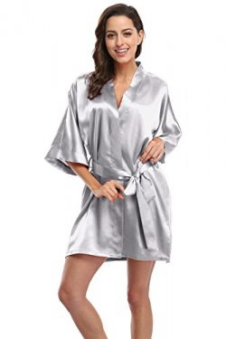 KimonoDeals Women's Soft Elegant Solid Color Kimono Robe-Silver Grey, Short M