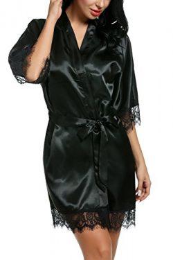 Avidlove Women's Pure Color Kimono Robes Satin Nightwear Bridesmaids Short Style Black Medium