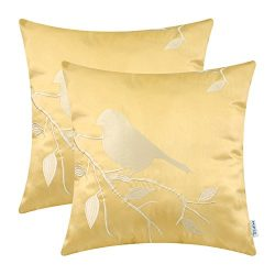 Pack of 2 CaliTime Cushion Covers Throw Pillow Cases Shells for Home Sofa Couch, Bird In Tree Br ...