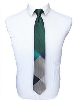 JEMYGINS Green Plaid Silk Ties for Men Classic Formal Necktie (9)