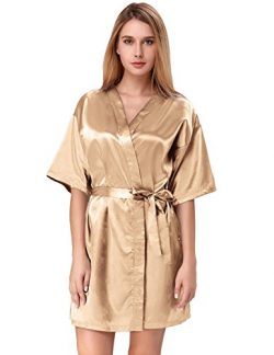 Zexxxy Women's Plus Size Satin Robe Short Kimono for Party Champagne Size XXL ZE51-4