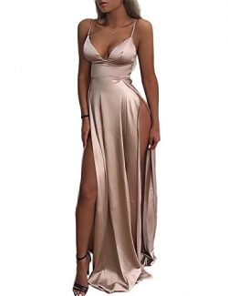 Trendy&Boutique Women's Sexy V Neck Spaghetti Strap High Slit Empire Waist Maxi Long D ...