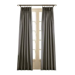 Curtainworks Marquee Faux Silk Pinch Pleat Curtain Panel, 30 by 84″, Pewter