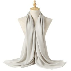 Bellonesc Silk Scarf 100% silk Long Lightweight Sunscreen Shawls for Women (grey)