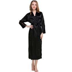 COOWALK Women's Nightgown Long Kimono Robe, Solid Color (LaceBlack)