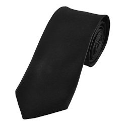 100% Silk Mens Ties Solid Necktie by Murong Jun | Great for a Wedding or Tuxedo(11 Colors) (Black)