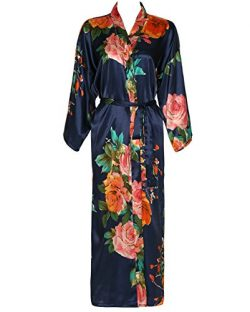 Yuxinbridal Women Long Floral Bridesmaid Robe Robes Satin Silk Robe Bridal Robes (Navy)