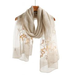 WS Natural Silk Scarf / Shawl / Wrap For Women Fashion Scarves (Beige Floral)