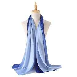 Bellonesc Silk Scarf 100% silk Long Lightweight Sunscreen Shawls for Women (blue-light blue)