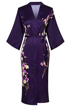 Old-to-new Women's Long Lightweight Elegant Kimono Robe Silk Bathrobe Dressing Gown with F ...