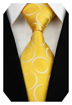 Wehug Men's Classic Tie Silk Woven Necktie Jacquard Neck Ties For Men Yellow LD0038