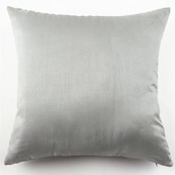 YJ Bear Solid Faux Silk Pillow Case Soft Cushion Cover Standard Size Cushion Sham Decorative Bod ...