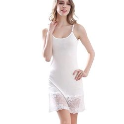 Zylioo 100% Mulberry Silk Long Spaghetti Strap Full Slips Dresses Lace Comfy Slim Fit Camisole U ...