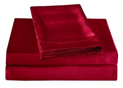 Honeymoon Luxury Satin Bed Sheet Set, Ultra Silky Soft, Full – Red