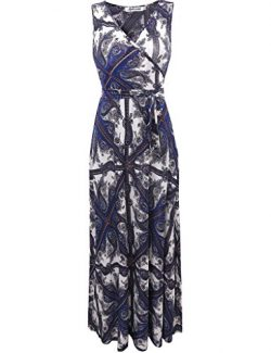 Aphratti Women's Bohemian Sleeveless V Neck Wrap Front Maxi Long Dress Small Navy