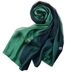 SNUG STAR Cotton Silk Scarf Elegant Soft Wraps Color Shade Scarves for Women (Dark green)