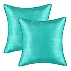 Pack of 2, CaliTime Silky Throw Pillow Covers Cases for Couch Sofa Bed, Modern Light Weight Dyed ...
