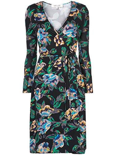 Diane von Furstenberg Long Sleeve Silk Wrap Dress In Benton Black