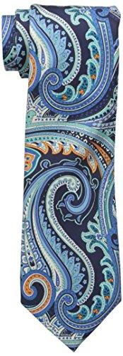 Countess Mara Men's 100 Percent Silk Amalfi Paisley Tie, Aqua, 12