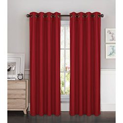 Window Elements Kim Faux Silk Extra Wide 108 x 84 in. Grommet Curtain Panel Pair, Crimson