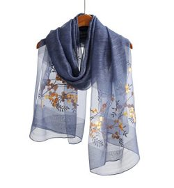 WS Natural Silk / Wool Scarf / Shawl / Wrap For Women Floral Embroidered Sheer (Blue Floral)