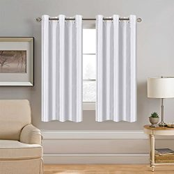 White Faux Silk Window Curtain Light Softly Filtering Drape Privacy Protection Nickel Grommet Pa ...
