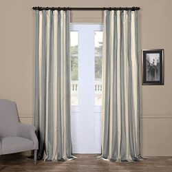 Half Price Drapes PTS-SLK183-96 Faux Silk Taffeta Stripe Curtain, 50 X 96, Hampton