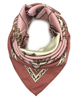 YOUR SMILE Silk Like Scarf Women's Fashion Pattern Large Square Satin Headscarf Head Dress ...
