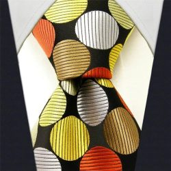 Intrepid Classic Corporate Handmade Polka Dot Multi-color Executive Men's Tie, Yellow, Whi ...
