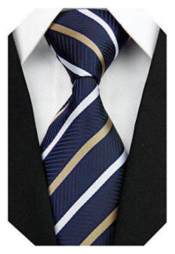 Wehug Men's Classic Stripe Tie Silk Woven Necktie Jacquard Neck Ties For Men Navy LD0040