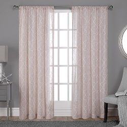 Exclusive Home Cali Embroidered Sheer Window Curtain Panel Pair with Rod Pocket, Blush, 50×96