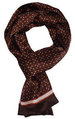 Ellettee, 63″ x 11″ Man's 100 Pure silk scarf wrap Accessory gift (Stars Amber ...