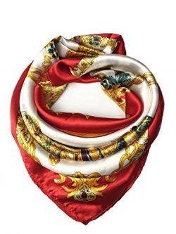YOUR SMILE Silk Like Scarf Women's Fashion Pattern Large Square Satin Headscarf Headdress  ...