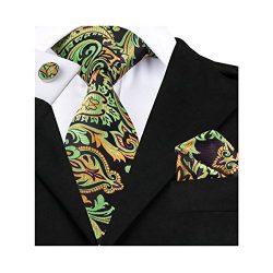 Hi-Tie Green Plaid Paisley Floral Woven Silk Tie Necktie Handkerchief Cufflinks Set for Men (GRE ...