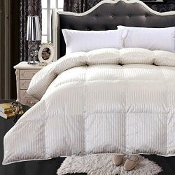 Abripedic SILK GOOSE-DOWN COMFORTER, Luxury Down Duvet Insert, 450 TC Cotton-Silk Striped Cream  ...