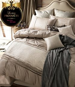 Solid Beige Duvet Cover Set King Luxury Bedding Set Vintage European Duvet Cover Set Exquisite P ...