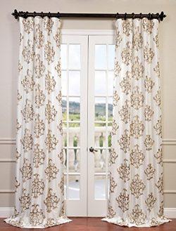 Half Price Drapes EFSCH-14087-108 Embroidered Faux Silk Taffeta Curtain, Ankara White