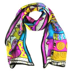 Wrapables Vibrant 100% Silk Long Scarf 51″ x 10.5″, Cats