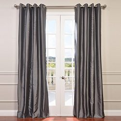 Half Price Drapes PTCH-BO005-84-GR Grommet Blackout Faux Silk Taffeta Curtain, Graphite