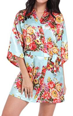 DF-deals Women's Satin Floral Robes for Bride and Bridesmaid Wedding Party Kimono Silk Rob ...