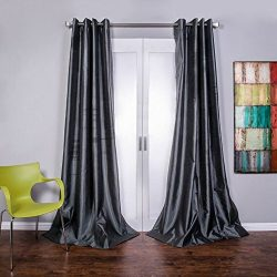 Lambrequin Mia Textured Faux Silk Grommet Curtain Panel, 96″