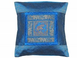 NovaHaat Blue Elephant Pillow Cover – Silk Blend Gold Zari Brocade Weave Sari Accent Cushi ...