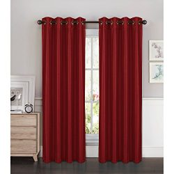 Window Elements Kim Faux Silk Extra Wide 108 x 84 in. Grommet Curtain Panel Pair, Burgundy