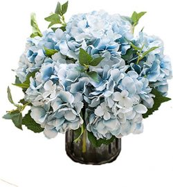 Lannu Artificial Silk Hydrangea Flowers Fabric Floral Natural Fake Hydrangea Flower Wedding Home ...