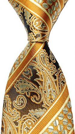 Scott Alania New Classic 100% Paisley Jacquard Woven Silk Men's Tie Necktie (gold)