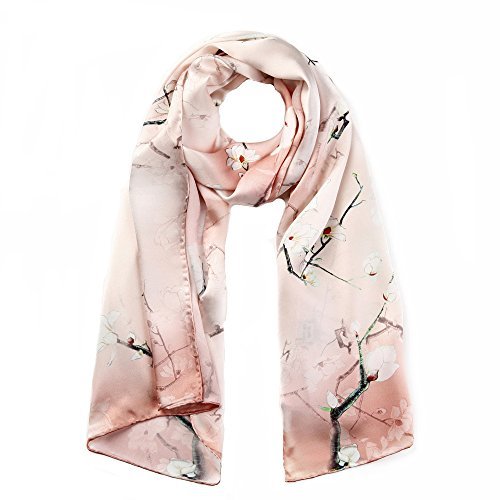 STORY OF SHANGHAI Womens 100% Mulberry Silk Head Scarf For Hair Ladies Floral Satin Scarf Gift f ...