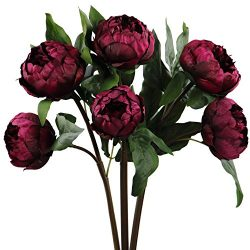 Rinlong Artificial Vintage Peony Silk Flowers Stems 3 pcs Wine Red for DIY Carft Floral Arrangem ...
