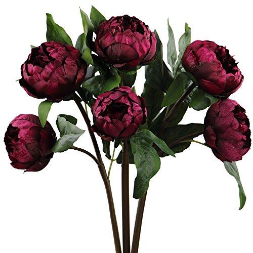 Rinlong artificial vintage peony silk flowers stems 3 pcs wine red rinlong artificial vintage peony silk flowers stems 3 pcs wine red for diy carft floral arrangem mightylinksfo