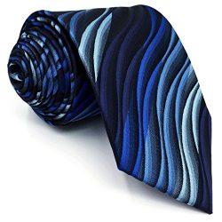 Shlax&Wing Ripple Blue New Men Design Necktie Ties Wedding Graduated Color