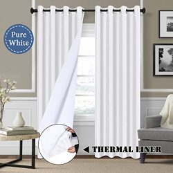White Blackout Curtains (2 Layers) – Elegant Rich Faux Silk Window Panels with White Liner ...
